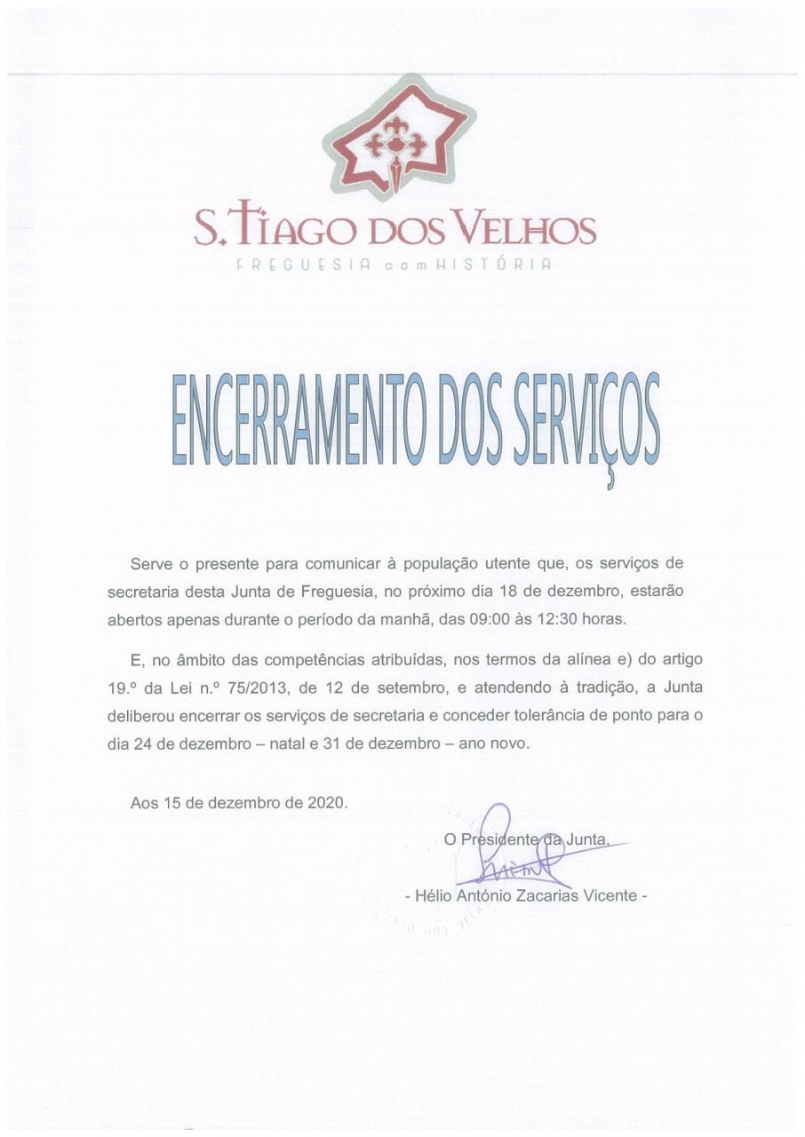 Encerramento dos Serviços da Secretaria