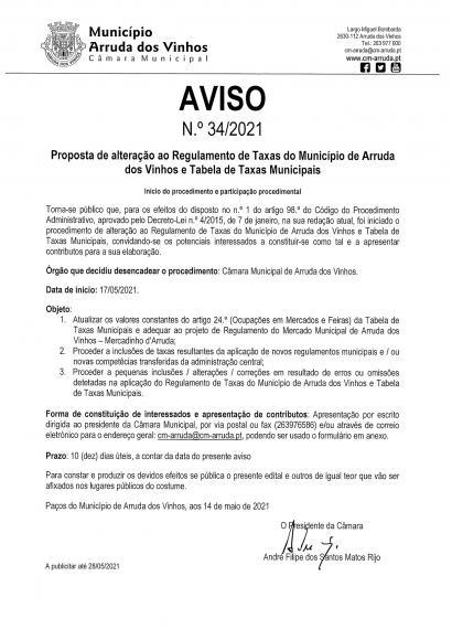 Procedimento de alteração ao Regulamento e Tabela de Taxas do município