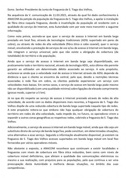 ANACOM - Petição Fibra Ótica